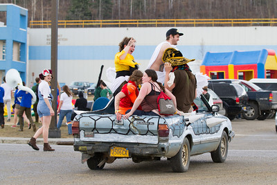 The Club Karneval Parade marched around campus from Reichardt building to the Nenana Parking Lot during the 2012 Spring Fest activities.  Filename: LIF-12-3384-132.jpg