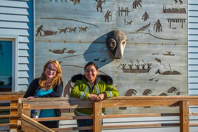Students Alyssa Wols, left, and Marjorie Tahbone walk between buildings at UAF's Northwest Campus in Nome.  Filename: LIF-16-4865-252.jpg