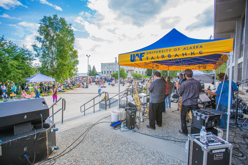 "The Glass Bead Game, a popular rock 'n roll band in Fairbanks from the early 1970s, met for a free reunion concert in front of the Rasmuson Library on the Fairbanks campus in July, 2012.  <div class=""ss-paypal-button"">Filename: LIF-12-3462-125.jpg</div><div class=""ss-paypal-button-end"" style=""""></div>"