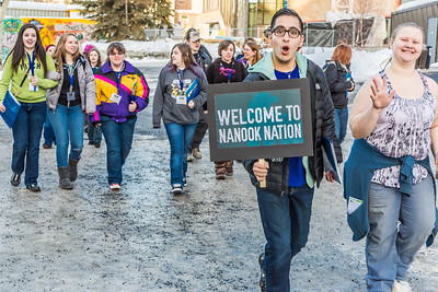 UAF admissions counselor Aaron Acevedo leads a group of prospective high school juniors and seniors on a campus tour during Inside Out event in March.  Filename: LIF-14-4116-23.jpg