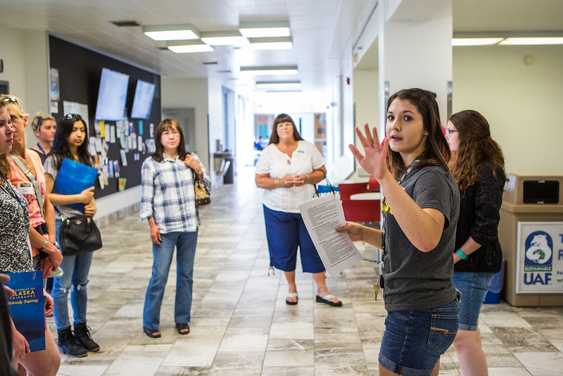 """UAF student ambassadors lead tours around campus during the 2016 summer Inside Out.  <div class=""""ss-paypal-button"""">Filename: LIF-16-4925-34.jpg</div><div class=""""ss-paypal-button-end""""></div>"""