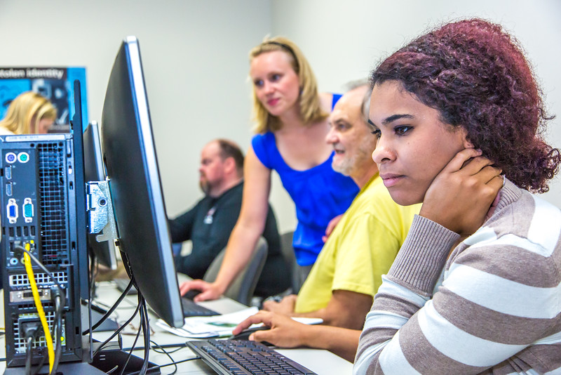 """Staff members are on hand to help with registration during the UAF Community and Technical College's (CTC) fall semester round up.  <div class=""""ss-paypal-button"""">Filename: LIF-15-4619-41.jpg</div><div class=""""ss-paypal-button-end""""></div>"""