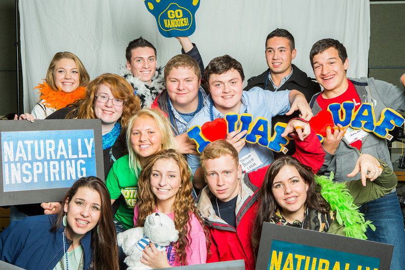 "After touring campus during UAF's InsideOut Day, a group of high school students gather for a photobooth portrait.  <div class=""ss-paypal-button"">Filename: LIF-13-3965-17.jpg</div><div class=""ss-paypal-button-end"" style=""""></div>"