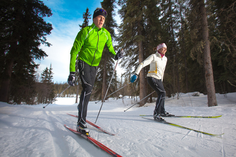 """UAF students Ian Wilkinson and Raphaela Sieber enjoy a morning loop around the campus ski trails.  <div class=""""ss-paypal-button"""">Filename: LIF-12-3348-12.jpg</div><div class=""""ss-paypal-button-end"""" style=""""""""></div>"""