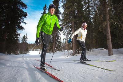 UAF students Ian Wilkinson and Raphaela Sieber enjoy a morning loop around the campus ski trails.  Filename: LIF-12-3348-12.jpg
