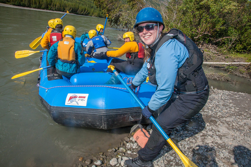 """Expedition leader Lilly Grbavach and six eager participants prepare to embark on a day-long raft trip down a beautiful stretch of the Nenana River offered by UAF Outdoor Adventures.  <div class=""""ss-paypal-button"""">Filename: OUT-12-3492-056.jpg</div><div class=""""ss-paypal-button-end"""" style=""""""""></div>"""
