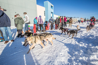 A long line of folks wanting a dog sled ride formed in front of the SRC  Saturday, Feb. 22. The mushing event was another part of UAF's 2014 Winter Carnival.  Filename: LIF-14-4089-61.jpg