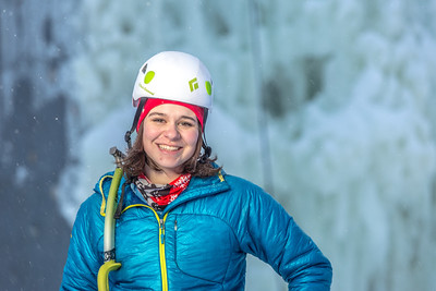 Outdoor enthusiast Michelle Klaben gets ready to tackle the ice climbing wall which is part of UAF's Terrain Park on a snowy afternoon.  Filename: LIF-13-3721-226.jpg