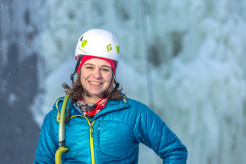 """Outdoor enthusiast Michelle Klaben gets ready to tackle the ice climbing wall which is part of UAF's Terrain Park on a snowy afternoon.  <div class=""""ss-paypal-button"""">Filename: LIF-13-3721-226.jpg</div><div class=""""ss-paypal-button-end"""" style=""""""""></div>"""