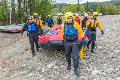 Students and staff members set out on a raft trip down the Nenana River  led by UAF Outdoor Adventures in June, 2014.  Filename: OUT-14-4211-023.jpg