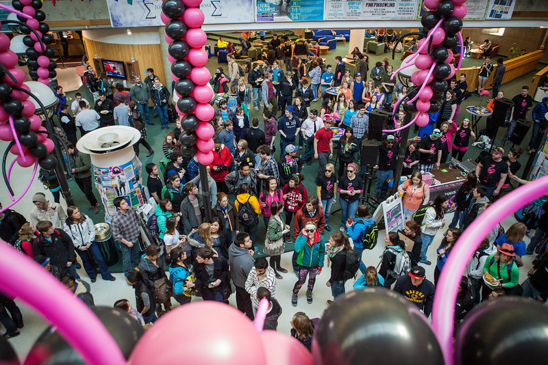 """Students gather in the Wood Center before the 2013 Spring Fest dance-off.  <div class=""""ss-paypal-button"""">Filename: LIF-13-3799-75.jpg</div><div class=""""ss-paypal-button-end"""" style=""""""""></div>"""
