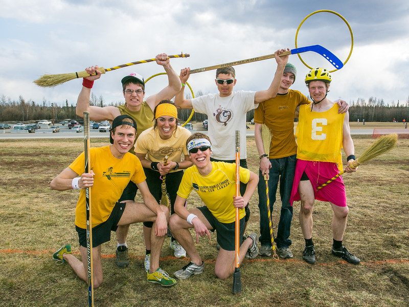 "Participants in the quidditch club, UAF's newest intramural sport, post after a competitive match during SpringFest 2012.  <div class=""ss-paypal-button"">Filename: LIF-12-3382-57.jpg</div><div class=""ss-paypal-button-end"" style=""""></div>"