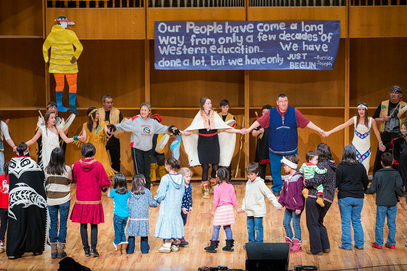 """The audience joins the dancers onstage during an open invitational dance during the 2014 Festival of Native Arts in the Charles Davis Concert Hall.  <div class=""""ss-paypal-button"""">Filename: LIF-14-4099-3.jpg</div><div class=""""ss-paypal-button-end""""></div>"""