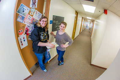 Music major Kaylie Wiltersen, right, visits with resident advisor Mary Clare Cabel in Skarland Hall.  Filename: LIF-13-3735-110.jpg