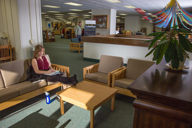 """Music education major Anna Polum finds a comfortable spot to study in the Rasmuson Library.  <div class=""""ss-paypal-button"""">Filename: LIF-13-3950-71.jpg</div><div class=""""ss-paypal-button-end"""" style=""""""""></div>"""