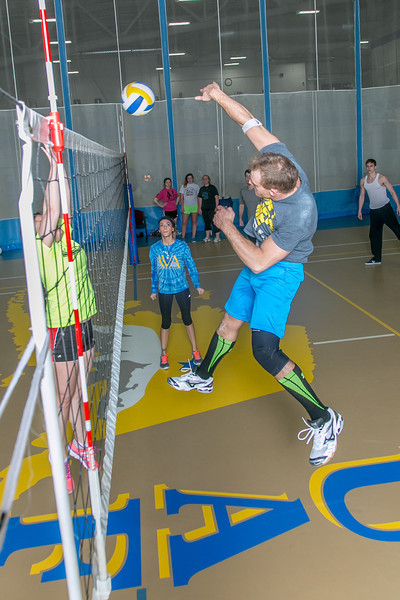 """Intramural volleyball action on a Tuesday night at the Student Recreation Center.  <div class=""""ss-paypal-button"""">Filename: LIF-14-4111-267.jpg</div><div class=""""ss-paypal-button-end""""></div>"""