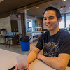 "Justin Bill from Tooksook Bay enjoys a beverage after class in Sacket Hall, the on-campus residence facility at UAF's Kuskokwim Campus in Bethel.  <div class=""ss-paypal-button"">Filename: LIF-16-4859-007.jpg</div><div class=""ss-paypal-button-end""></div>"