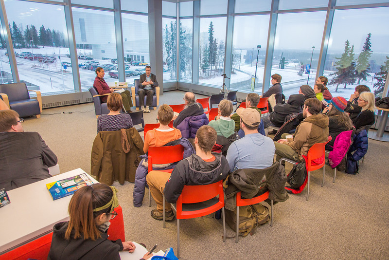 """Author and UAF alum David Abrams, back right, visits with professor emeritus Frank Soos and students about his new book, Fobbit, and other topics during a Midnight Sun Visiting Writers craft talk in the Murie Building Nov. 8.  <div class=""""ss-paypal-button"""">Filename: LIF-13-3999-132.jpg</div><div class=""""ss-paypal-button-end"""" style=""""""""></div>"""