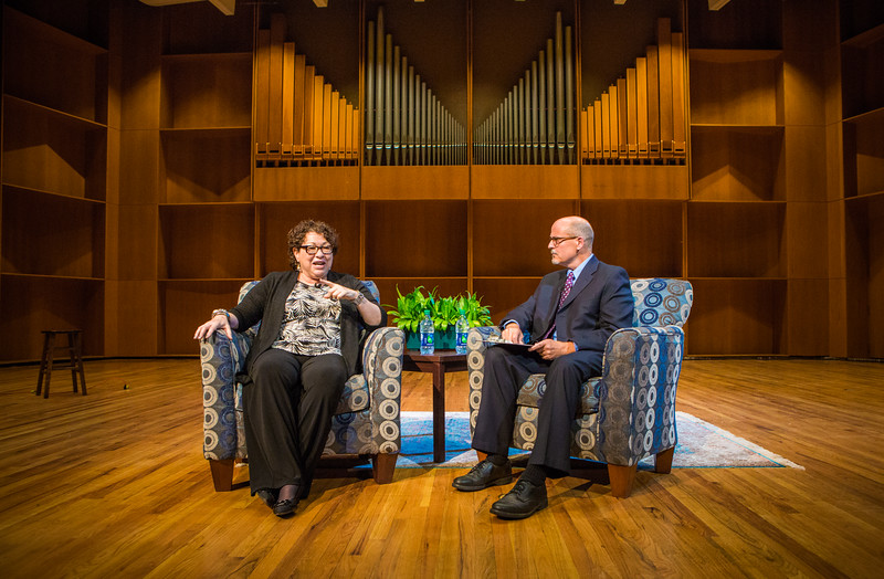 """U.S. Supreme Court Associate Justice Sonia Sotomayor answers submitted questions from KUAC reporter Robert Hannon during an event sponsored by UAF Summer Sessions and Lifelong Learning in the Davis Concert Hall.  <div class=""""ss-paypal-button"""">Filename: LIF-16-4956-73.jpg</div><div class=""""ss-paypal-button-end""""></div>"""