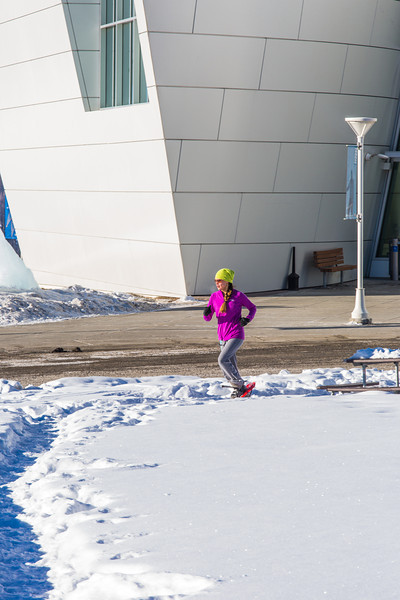 """One of the leaders in the second annual Troth Yeddha' Park Snowshoe Scramble makes her way past the museum Saturday, March 1 to help raise awareness for the proposed park to help celebrate Alaska's Native culture.  <div class=""""ss-paypal-button"""">Filename: LIF-14-4079-33.jpg</div><div class=""""ss-paypal-button-end"""" style=""""""""></div>"""