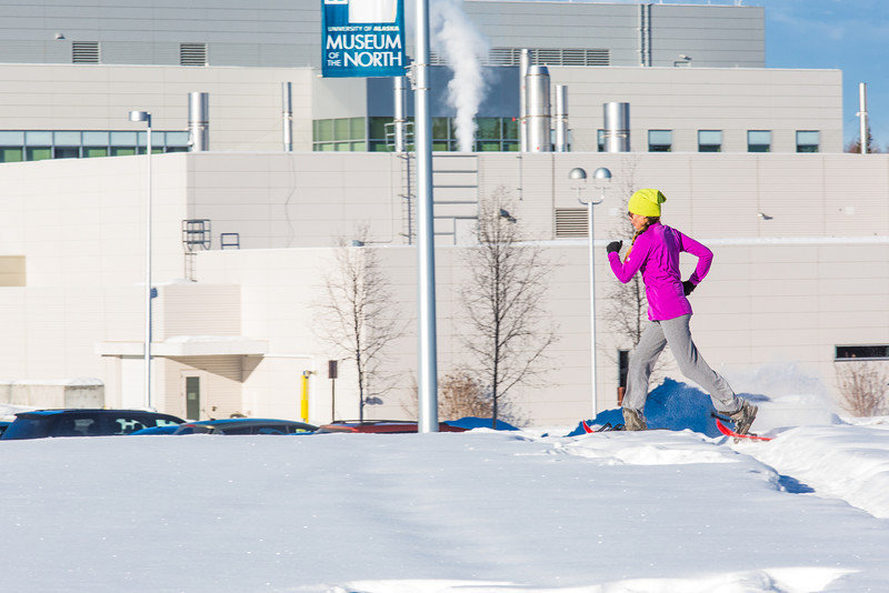 """One of the leaders in the second annual Troth Yeddha' Park Snowshoe Scramble makes her way towards the museum Saturday, March 1 to help raise awareness for the proposed park to help celebrate Alaska's Native culture.  <div class=""""ss-paypal-button"""">Filename: LIF-14-4079-29.jpg</div><div class=""""ss-paypal-button-end"""" style=""""""""></div>"""