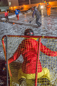 Outdoor broomball, played on the ice in front of the SRC, is a popular intramural sport at UAF.  Filename: LIF-12-3652-214.jpg