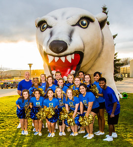 The UAF cheerleaders pose in front of the inflatable Nanook before the annual Blue/Gold hockey game held in the Patty Ice Arena Sept. 29.  Filename: LIF-12-3570-086.jpg