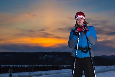 Freshman Michelle Klaben enjoys a trek on the UAF trails on a February afternoon.  Filename: LIF-12-3307-06.jpg