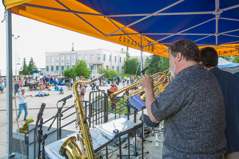 """The Glass Bead Game, a popular rock 'n roll band in Fairbanks from the early 1970s, met for a free reunion concert in front of the Rasmuson Library on the Fairbanks campus in July, 2012.  <div class=""""ss-paypal-button"""">Filename: LIF-12-3462-151.jpg</div><div class=""""ss-paypal-button-end"""" style=""""""""></div>"""