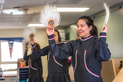 Larissa Flynn and other members of the KuC Yuraq Dance Group practice in the school's conference room on March 30. Flynn is a certificate pre-nursing student from Chefornak and a resident of Sackett Hall on the Kuskokwim Campus.  Filename: LIF-16-4859-387.jpg