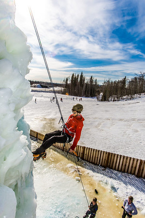 Engineering major Ryan Kudo enjoys a late season climb up the UAF ice wall on April 4.  Filename: LIF-14-4132-60.jpg