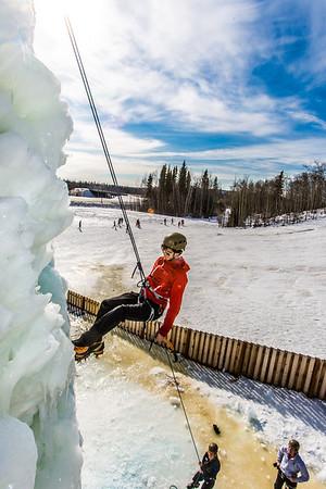 Engineering major Ryan Kudo enjoys a late season climb up the UAF ice wall on April 4.  Filename: LIF-14-4132-60.jpg
