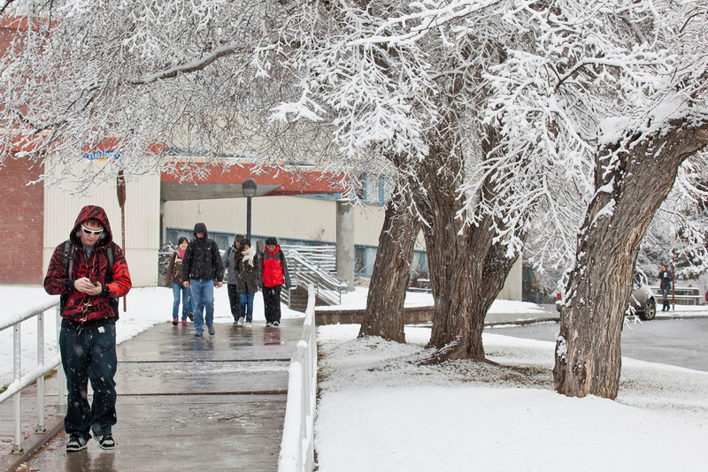 "Students walking around campus on Monday afternoon encountered the first snowfall of the semester.  <div class=""ss-paypal-button"">Filename: LIF-11-3199-71.jpg</div><div class=""ss-paypal-button-end"" style=""""></div>"