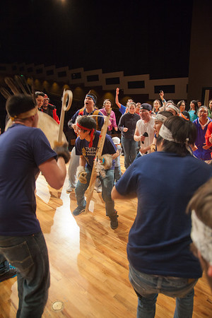 The Troth Yeddha' dance group performs an open invitational dance during the opening evening of the 2012 Festival of Native Arts in the Charles Davis Concert Hall.  Filename: LIF-12-3313-03.jpg
