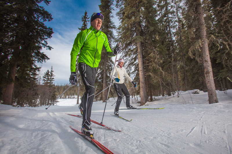 """UAF students Ian Wilkinson and Raphaela Sieber enjoy a morning loop around the campus ski trails.  <div class=""""ss-paypal-button"""">Filename: LIF-12-3348-09.jpg</div><div class=""""ss-paypal-button-end"""" style=""""""""></div>"""