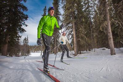 UAF students Ian Wilkinson and Raphaela Sieber enjoy a morning loop around the campus ski trails.  Filename: LIF-12-3348-09.jpg