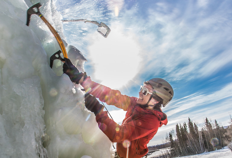 """Engineering major Ryan Kudo enjoys a late season climb up the UAF ice wall on April 4.  <div class=""""ss-paypal-button"""">Filename: LIF-14-4132-172.jpg</div><div class=""""ss-paypal-button-end"""" style=""""""""></div>"""