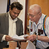 "Assistant Professor for Research Shiva Hullavarad talks about inventions with 96 year old Alaska inventor Ed Ashby.  <div class=""ss-paypal-button"">Filename: LIF-12-3280-47.jpg</div><div class=""ss-paypal-button-end"" style=""""></div>"