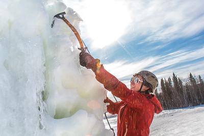 Engineering major Ryan Kudo enjoys a late season climb up the UAF ice wall on April 4.  Filename: LIF-14-4132-164.jpg
