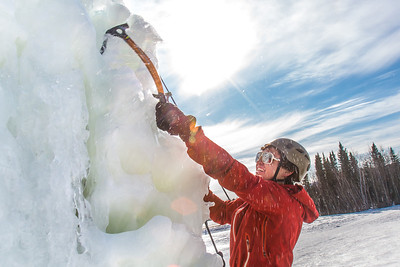 Engineering major Ryan Kudo enjoys a late season climb up the UAF ice wall on April 4.  Filename: LIF-14-4132-164.jpg