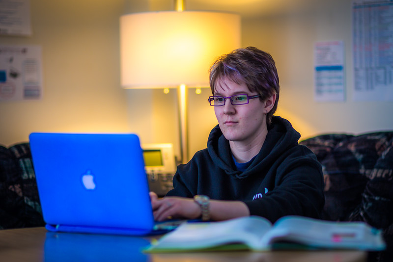 """Sophomore pre-nursing major Michaela Lockes studies in the student lounge at UAF's Kuskokwim Campus in Bethel.  <div class=""""ss-paypal-button"""">Filename: LIF-16-4859-113.jpg</div><div class=""""ss-paypal-button-end""""></div>"""