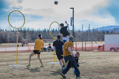 Participants in the quidditch club, UAF's newest intramural sport, play a competitive match during SpringFest 2012.  Filename: LIF-12-3382-37.jpg