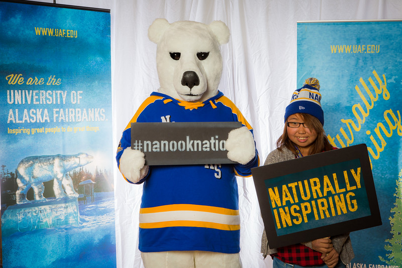 """Prospective students pose with the UAF mascot during the Fall 2015 Inside Out event hosted by UAF's office of admissions and the registrar.  <div class=""""ss-paypal-button"""">Filename: LIF-14-4353-13.jpg</div><div class=""""ss-paypal-button-end""""></div>"""