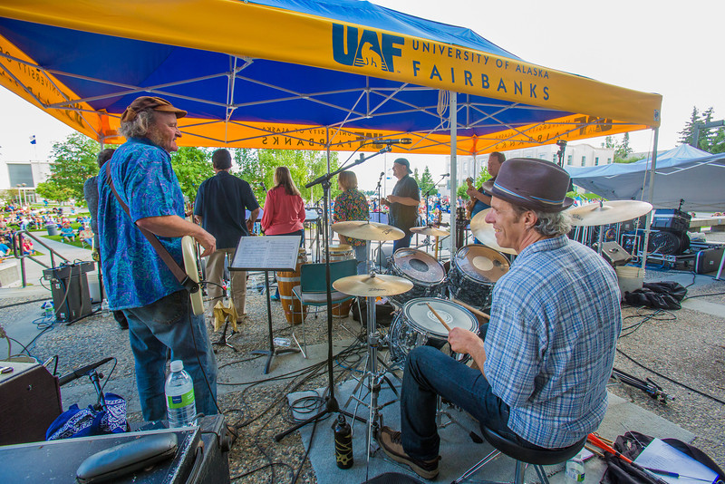 """Members of the Glass Bead Game, a rock band formed in Fairbanks more than 30 years ago, played a reunion concert on campus on July 1.  <div class=""""ss-paypal-button"""">Filename: LIF-12-3462-146.jpg</div><div class=""""ss-paypal-button-end"""" style=""""""""></div>"""