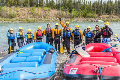 Students and staff members set out on a raft trip down the Nenana River  led by UAF Outdoor Adventures in June, 2014.  Filename: OUT-14-4211-047.jpg