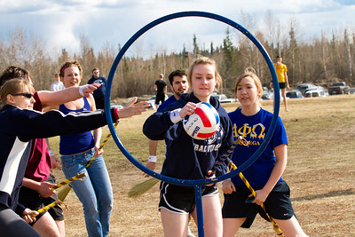 "Students riding on ""enchanted"" brooms play quidditch during the 2012 Spring Fest field day activities.  Filename: LIF-12-3384-209.jpg"
