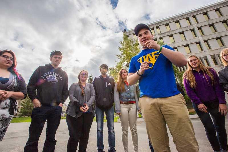 """UAF Orientation Leaders engage in team building exercises before students arrive on campus before the start of the fall 2015 semester.  <div class=""""ss-paypal-button"""">Filename: LIF-15-4635-027.jpg</div><div class=""""ss-paypal-button-end""""></div>"""