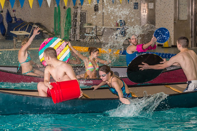 Battleship is a popular intramural sport at UAF. Teams in canoes try to swamp each other's boats during a tournament in the Patty pool.  Filename: LIF-13-3975-29.jpg