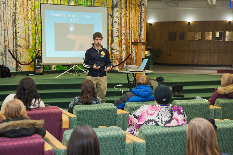 """Outdoor Adventures director Mark Oldmixon provides tips on how to survive at 40° below during a new student orientation session Jan. 18 in the Wood Center.  <div class=""""ss-paypal-button"""">Filename: LIF-12-3258-18.jpg</div><div class=""""ss-paypal-button-end"""" style=""""""""></div>"""
