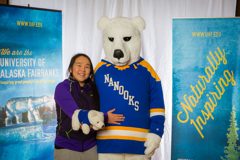 """Prospective students pose with the UAF mascot during the Fall 2015 Inside Out event hosted by UAF's office of admissions and the registrar.  <div class=""""ss-paypal-button"""">Filename: LIF-14-4353-20.jpg</div><div class=""""ss-paypal-button-end""""></div>"""